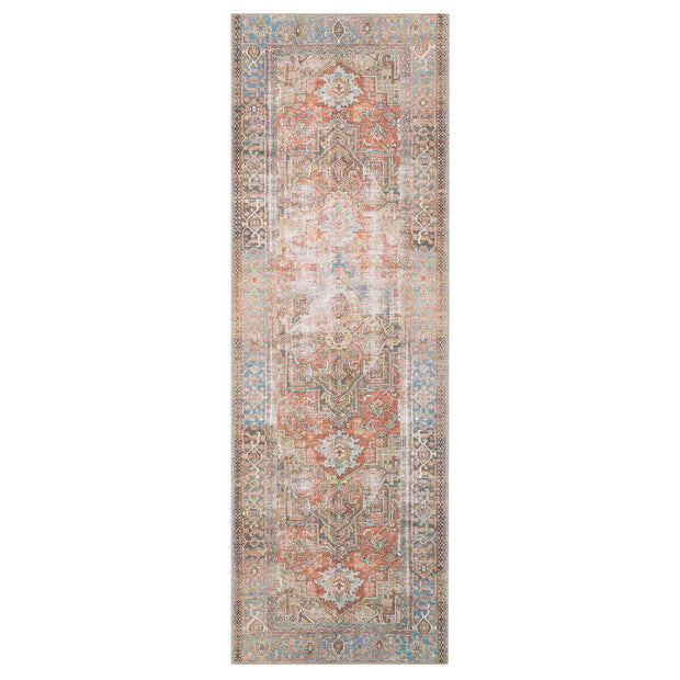 Lille Terracotta and Sky Runner. Vintage inspired polyester runner.
