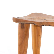 Detail on aged teak stool.