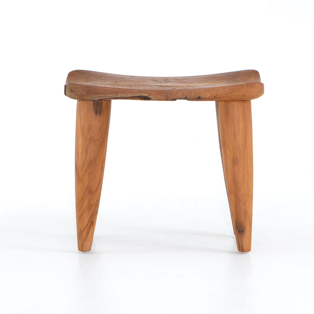 Teak stool for indoor and outdoor use.