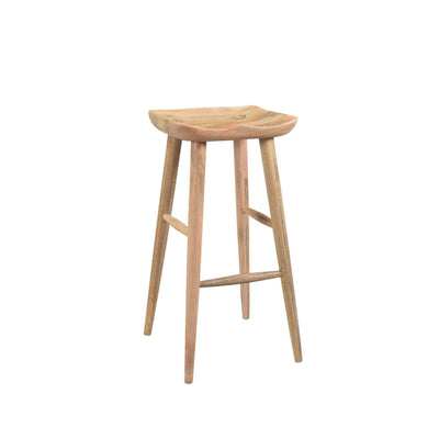 Natural wood bar stool. Simple backless design.