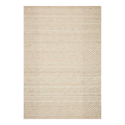 Textural rustic rug with high-low pile in a neutral colour.