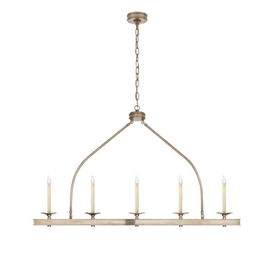 The Launceton Linear Chandelier has five candle-like lights on an antique nickel lantern inspired pendant.