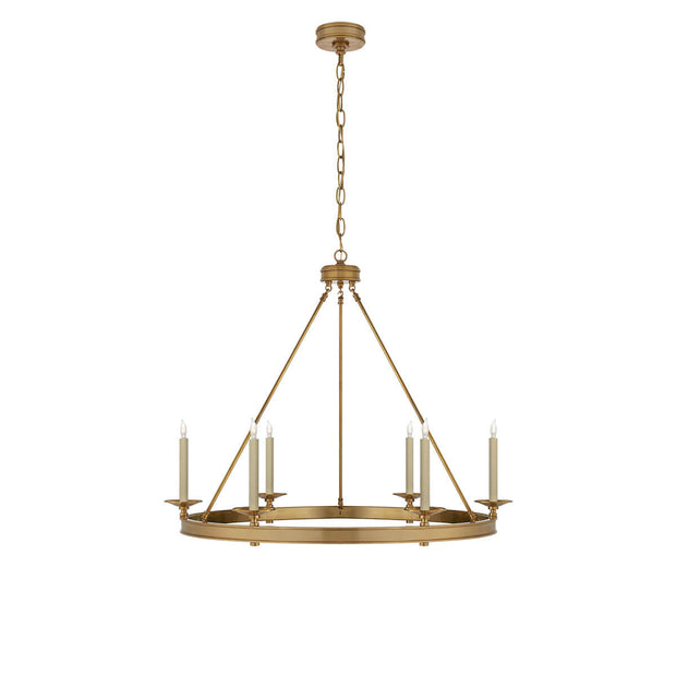 The Launceton Ring Chandelier is a large traditional, candelabra chandelier with an antique burnished brass finish and six candle lights around the circle base.