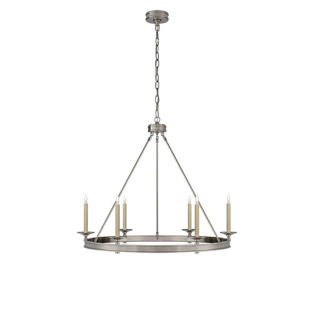 The Launceton Ring Chandelier is a large traditional, candelabra chandelier with an antique nickel finish and six candle lights around the circle base.