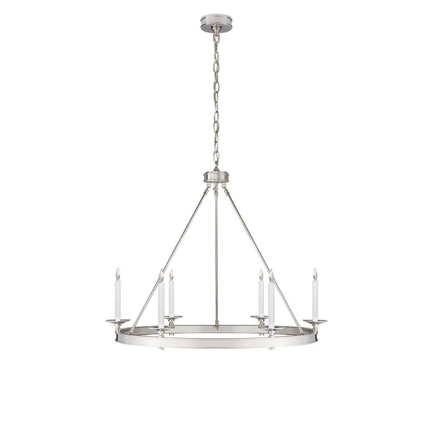 The Launceton Ring Chandelier is a large traditional, candelabra chandelier with a polished nickel finish and six candle lights around the circle base.