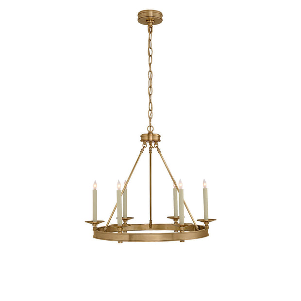 The Launceton Ring Chandelier is a circle pendant light in an antique burnished brass finish with six candle lights around a ring base.