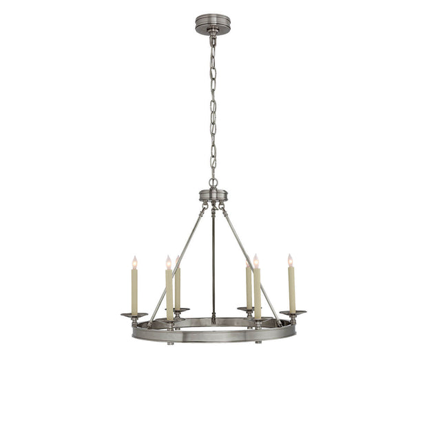 The Launceton Ring Chandelier is a circle pendant light in an antique nickel finish with six candle lights around a ring base.