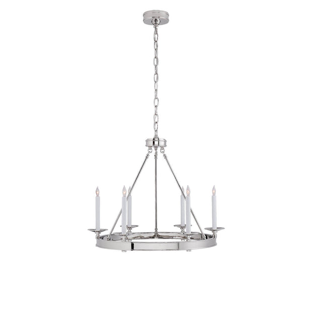 The Launceton Ring Chandelier is a circle pendant light in a polished nickel finish with six candle lights around a ring base.