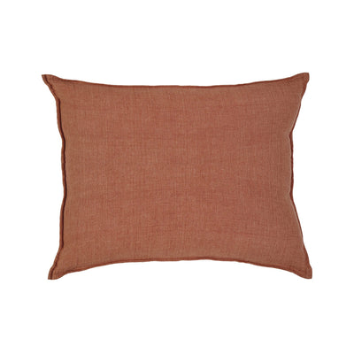 Terra cotta, rust orange, big pillow made of 100% heavy-knit linen.