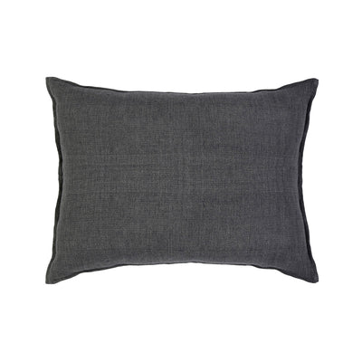 Charcoal grey big pillow made of 100% heavy-knit linen.