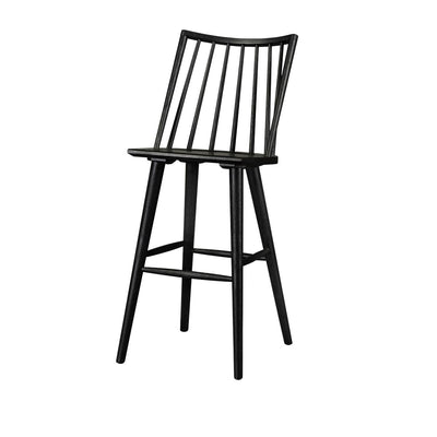 Windsor style bar stool in black oak with a rounded, spindle back and footrest.