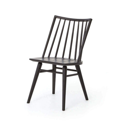 Traditional solid wood dining chair with a rounded, spindle back and a black oak finish.