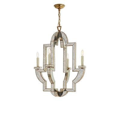 The Lido medium Chandelier has a unique, Mediterranean inspired shape with antique mirrored finish, four candle lights and a hand-rubbed antique brass frame.
