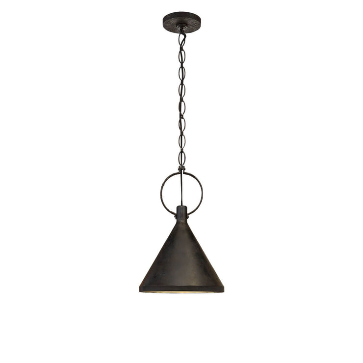 The Limoges Medium Pendant has a natural rusted iron finished chain and ring detail and a funnel shaped shade in an aged iron finish.