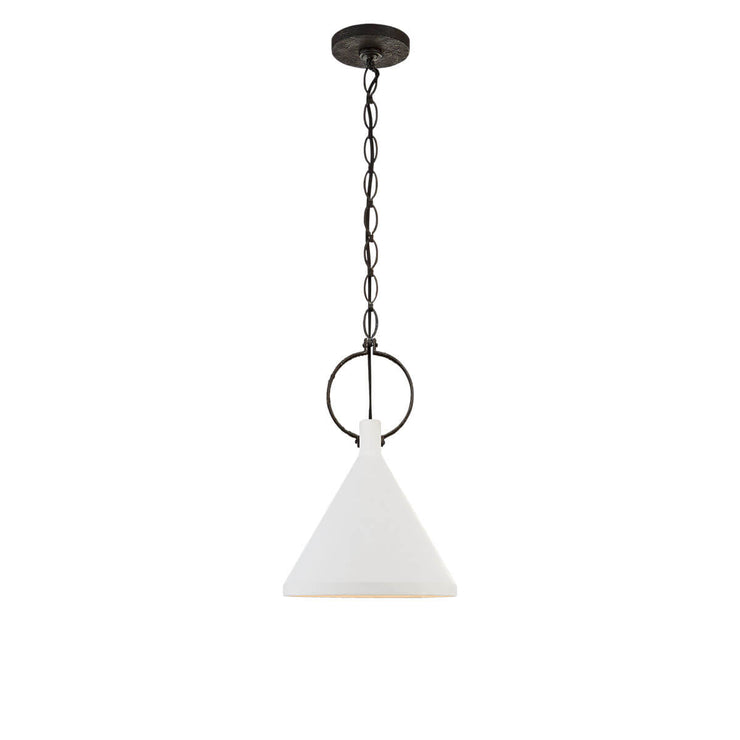 The Limoges Medium Pendant has a natural rusted iron finished chain and ring detail and a funnel shaped shade in a plaster white finish.