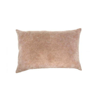 The Lismore Pillow - Taupe is a taupe, velvet decorative pillow with stone-washed detail.