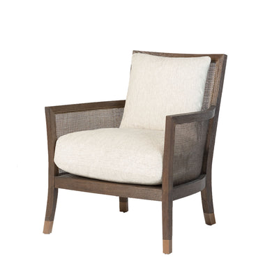 Lockwood Occasional Chair with a brushed espresso finish on birch wood. This comfortable, upholstered cushioned chair is perfect for a boho-chic living room.