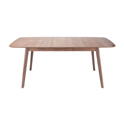 The Sacramento Dining Table has a modern shape with a American Walnut veneer tabletop and walnut stained rubberwood legs.