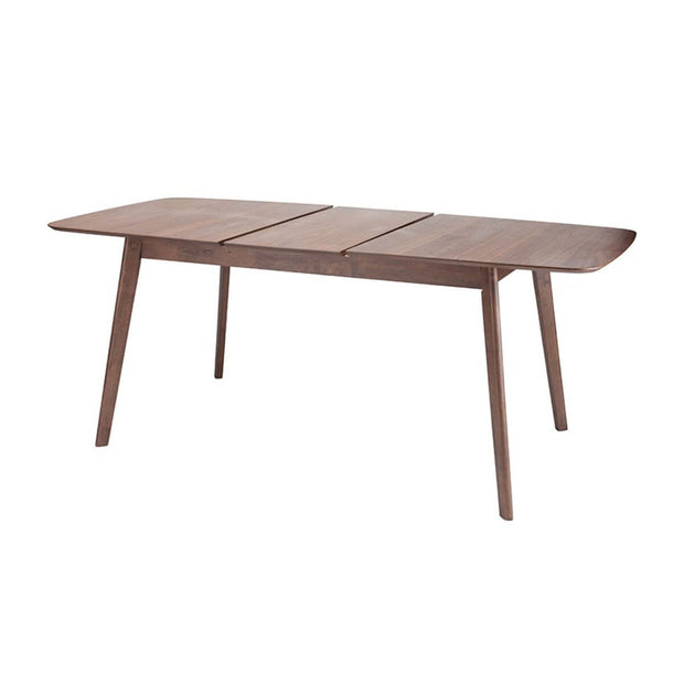 Wooden midcentury modern table with adjustable leaves.