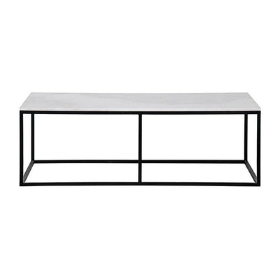 The Bennington Coffee Table has a slim, black metal frame and a natural quartz tabletop.