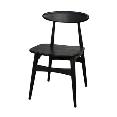 Modern dining chair with a minimal shape and charcoal black finish.