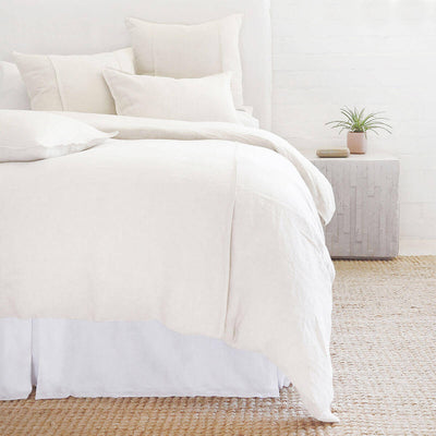 The Springfield Bedding Collection in cream made from 100% linen with seamed detail.