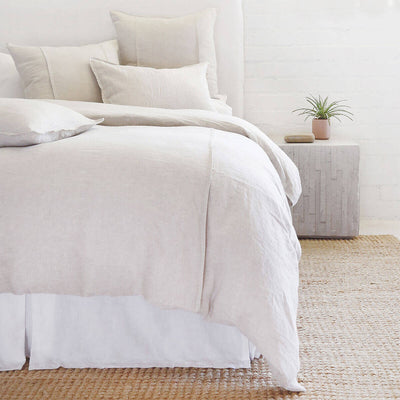 The Springfield Bedding Collection in flax made from 100% linen with seamed detail.