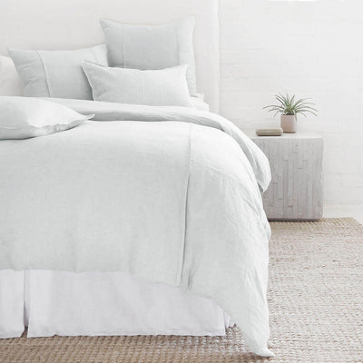 The Springfield Bedding Collection in ocean made from 100% linen with seamed detail.