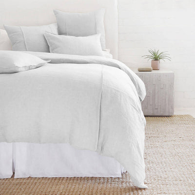 The Springfield Bedding Collection in silver made from 100% linen with seamed detail.