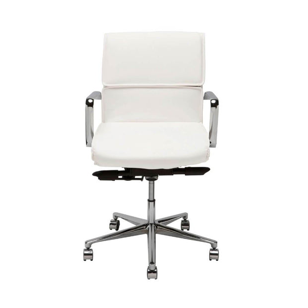 Modern, fully adjustable desk chair with a white leather seat and chrome base.