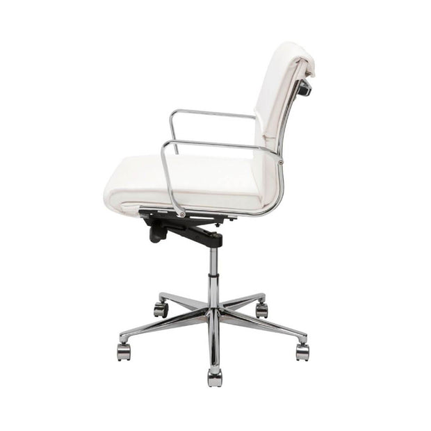 White leather office chair with chrome base and adjustable seat.