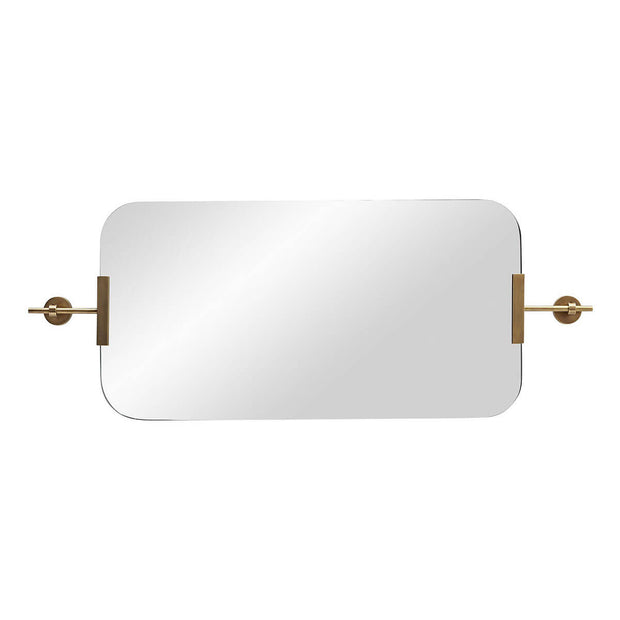 Frameless mirror with antique brass brackets hung horizontally.