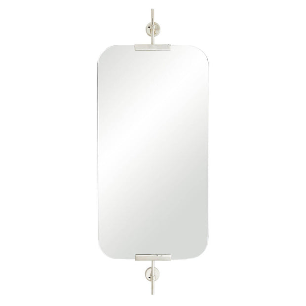The Cremona Mirror is a rounded rectangular mirror with polished nickel brackets.