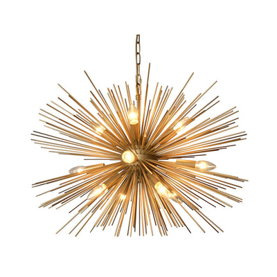 The Calcutta Chandelier is a starburst ceiling light in a gold finish. Gold starburst dining room chandelier.