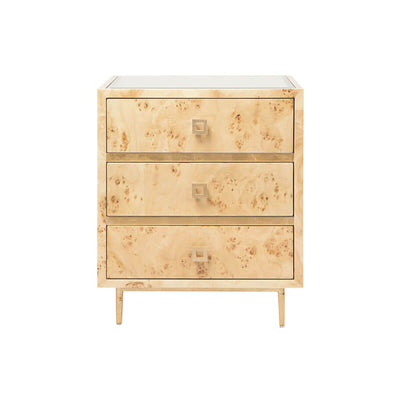 The Malacca Side Table has three drawers and is made out of burl wood with gold leaf details and a bevelled mirror inset top.