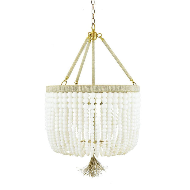 The Latigo Small Chandelier has milk beads and natural hemp accents with brass hardware.