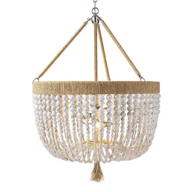 Bohemian chandelier with white swirl beads, natural hemp fringe and frame and polished nickel hardware.