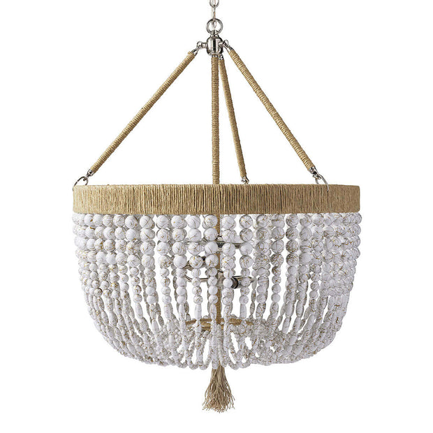 The Latigo Medium Chandelier is a hand-beaded chandelier with white swirl beads, natural hemp accents and brass hardware.