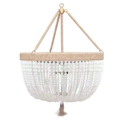 The Latigo Medium Chandelier is a hand-beaded chandelier with white milk beads, natural hemp accents and brass hardware.