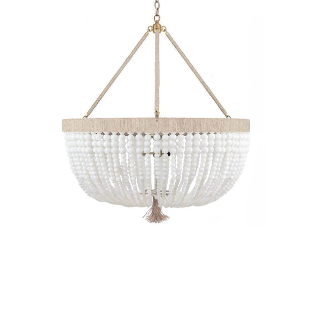 The Latigo Large Chandelier is a large beaded chandelier with hemp accents and strands of milk beads.