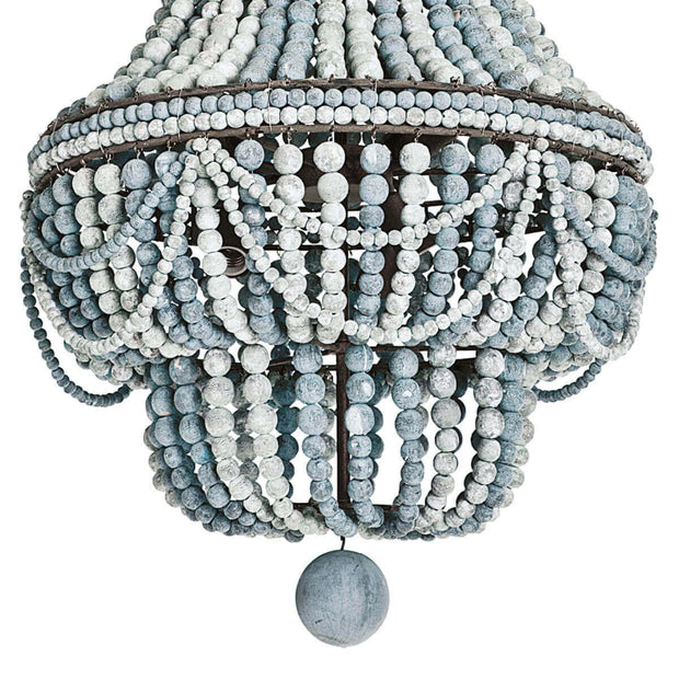 Malibu Chandelier with classic style and modern charm. Weathered blue and white wooden bead detail.
