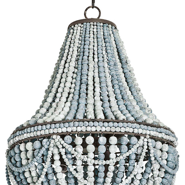Bohemian style chandelier with blue and white wooden beads.