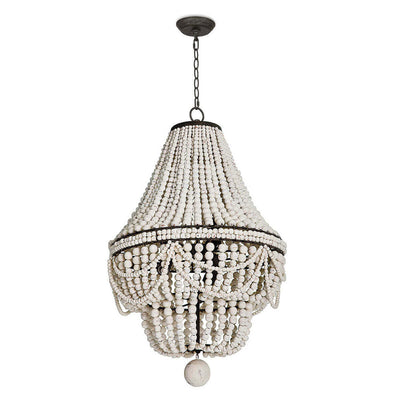 Malibu Chandelier with ropes of wooden white weathered beads.