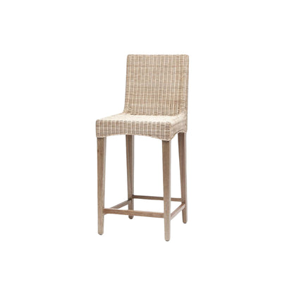 The Mesilla Counter Stool has a solid wood frame and woven wicker seat in a white wash finish.
