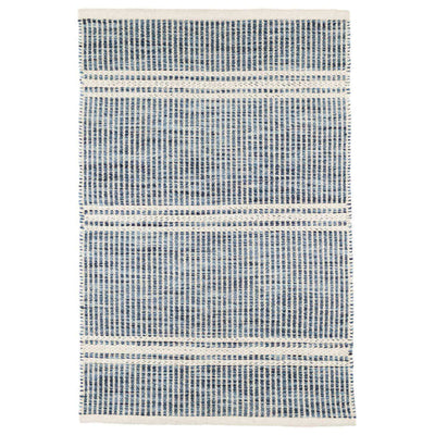 Valletta Blue Rug. Blue and white fade resistant flatweave rug.