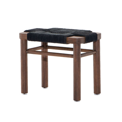 The Manado Stool features a matte black woven rope seat with a sturdy russet-stained mahogany wood base.