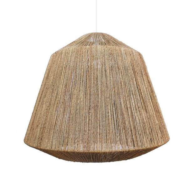 The Crosby Chandelier is a large, gem shaped pendant wrapped in jute with a boho look.