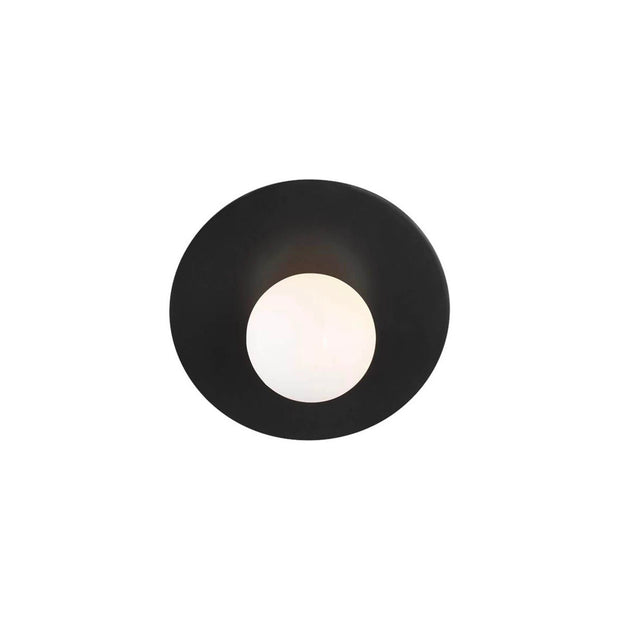 A modern wall sconce in a midnight black finish with a globe shaped bulb.