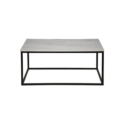The Hartland Coffee Table has a black metal frame and a quartz tabletop.