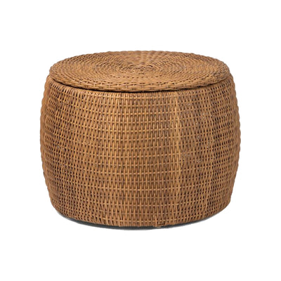 Naturally aged faux rattan outdoor coffee table. Coffee table with lid for extra storage. Brings an organic bohemian feel to any patio.